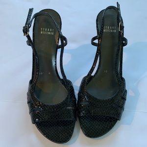 Stuart Weizmann black snakeskin-look heels